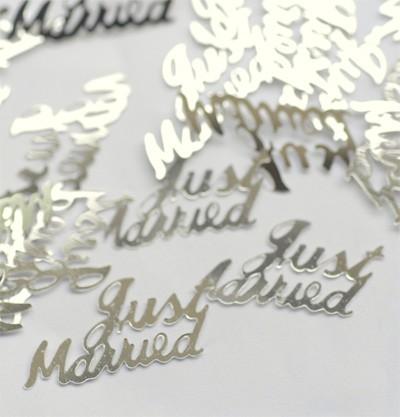 Konfetti 'Just married' silber metallic